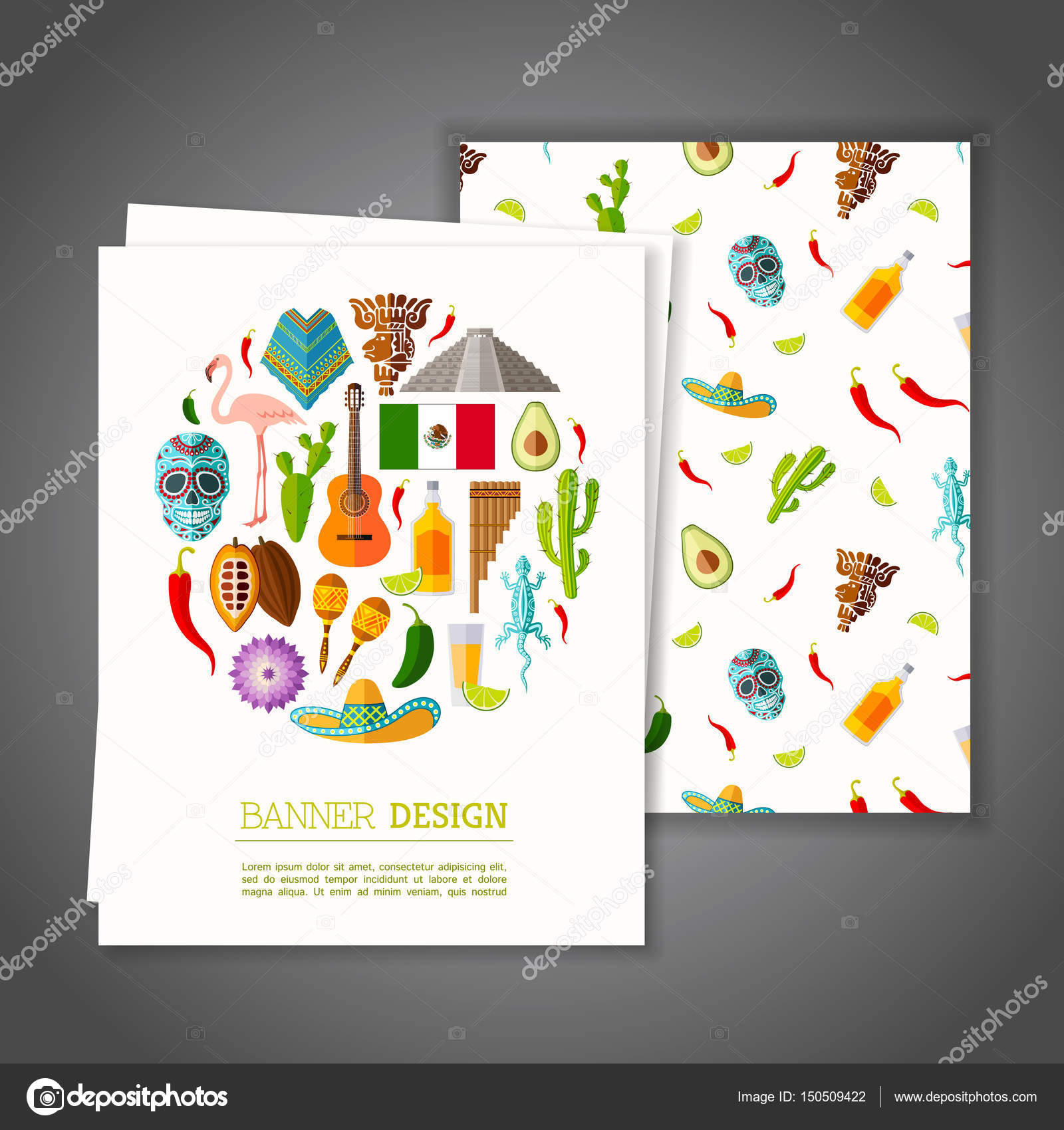 Banner on mexican theme vector illustration stock vector cards with national symbols of mexico greeting or invitation vector card on mexican theme branding design banner vector by kurmanstockail stopboris Image collections