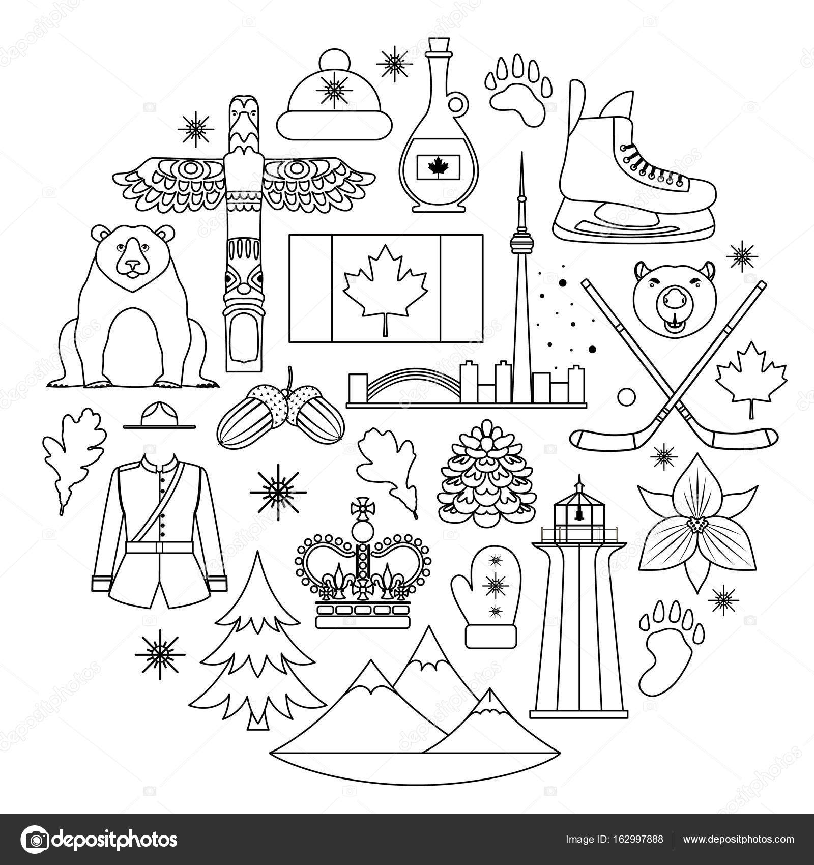 National symbols of canada in the lining style vector stock national symbols of canada in the lining style vector stock vector ccuart Choice Image