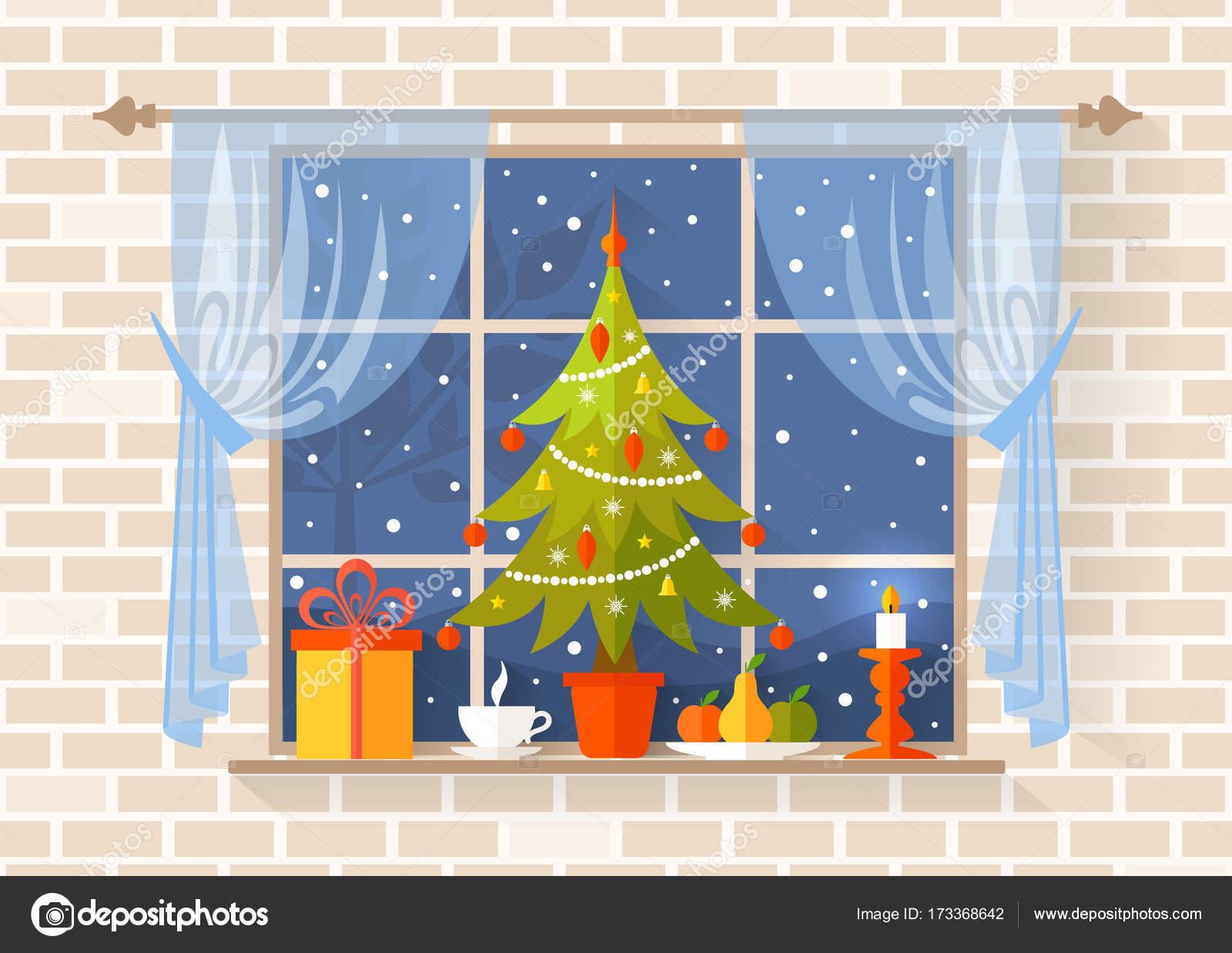 Weihnachtsszene Mit Einem Weihnachtsbaum Auf Der Fensterbank Vektor ...