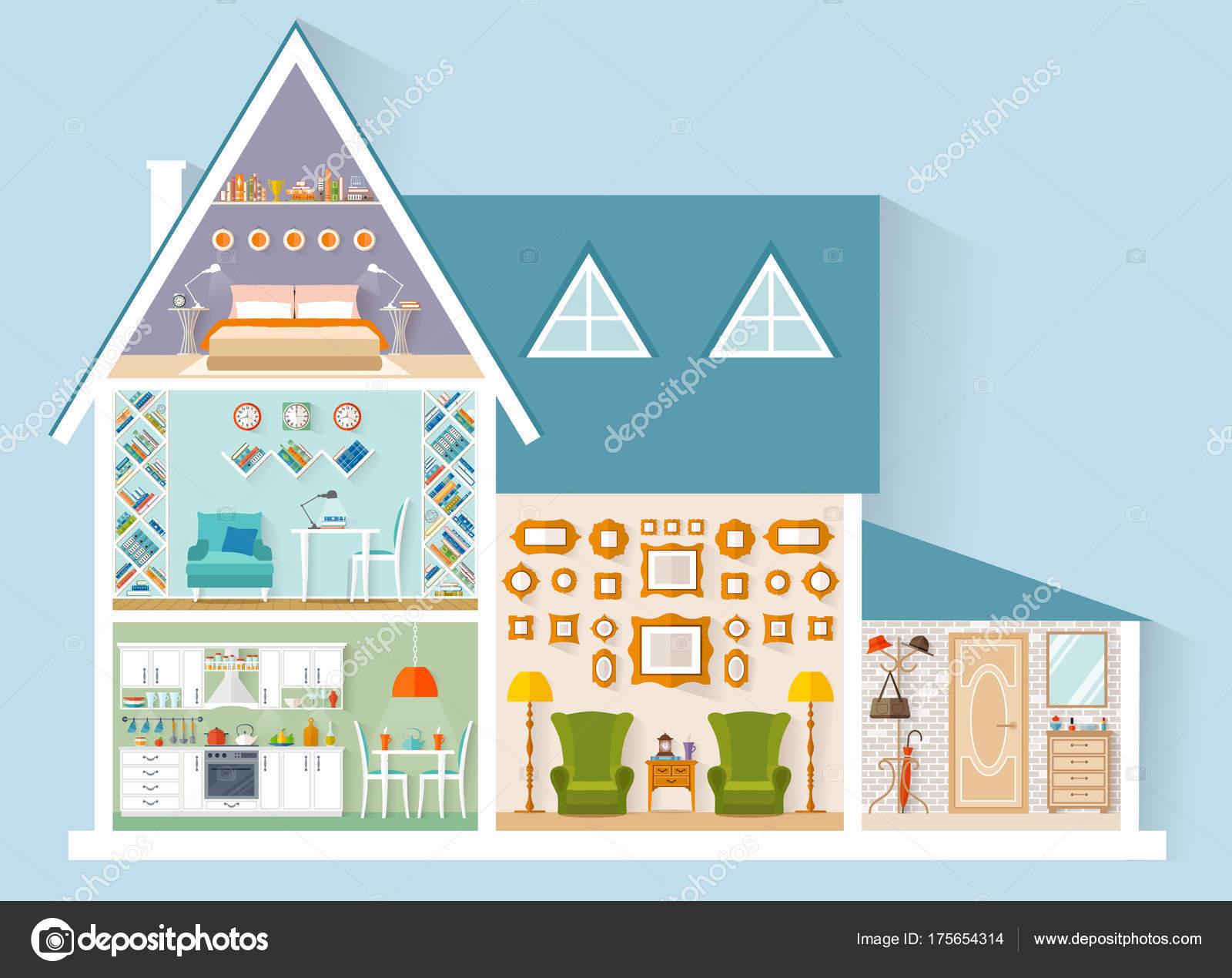 Vektor-Haus-Modell. Interior Design — Stockvektor © kurmanstock ...