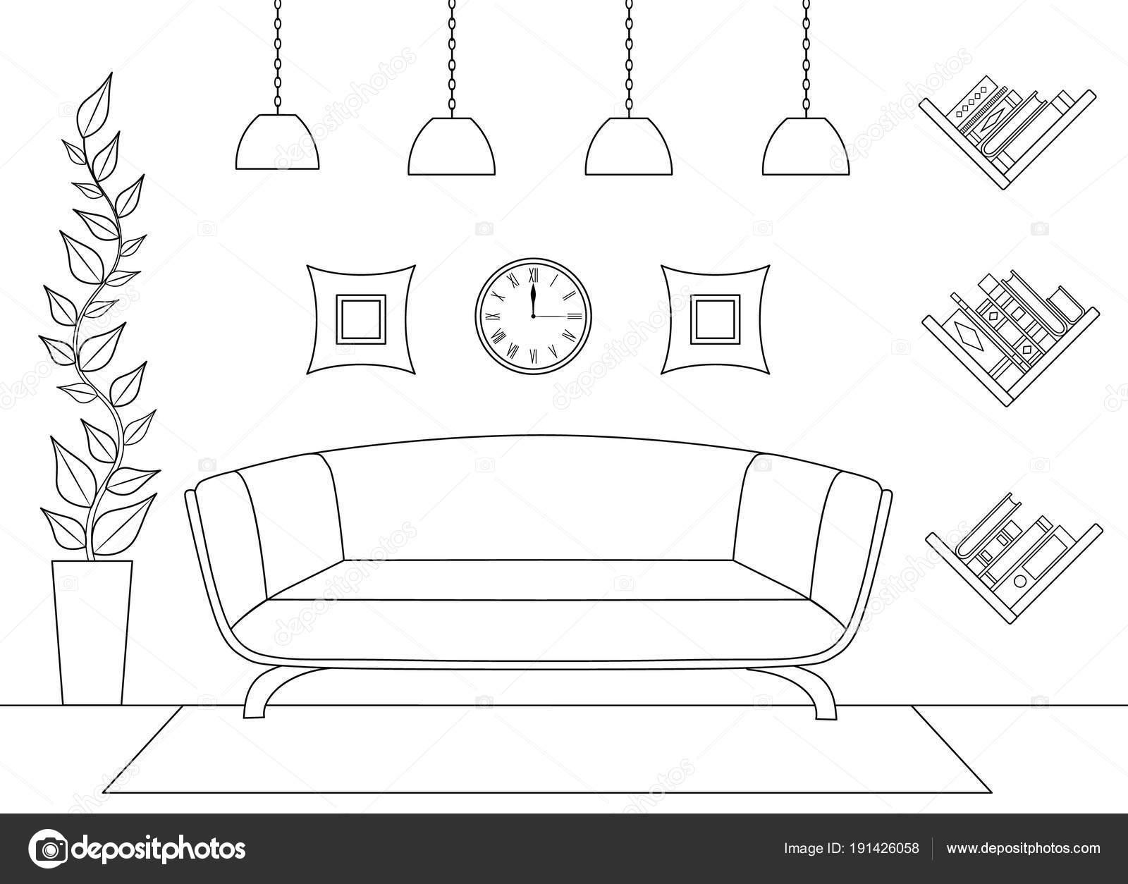 Interior Lineal Vector Vista Frontal Esquema Colocación Muebles ...