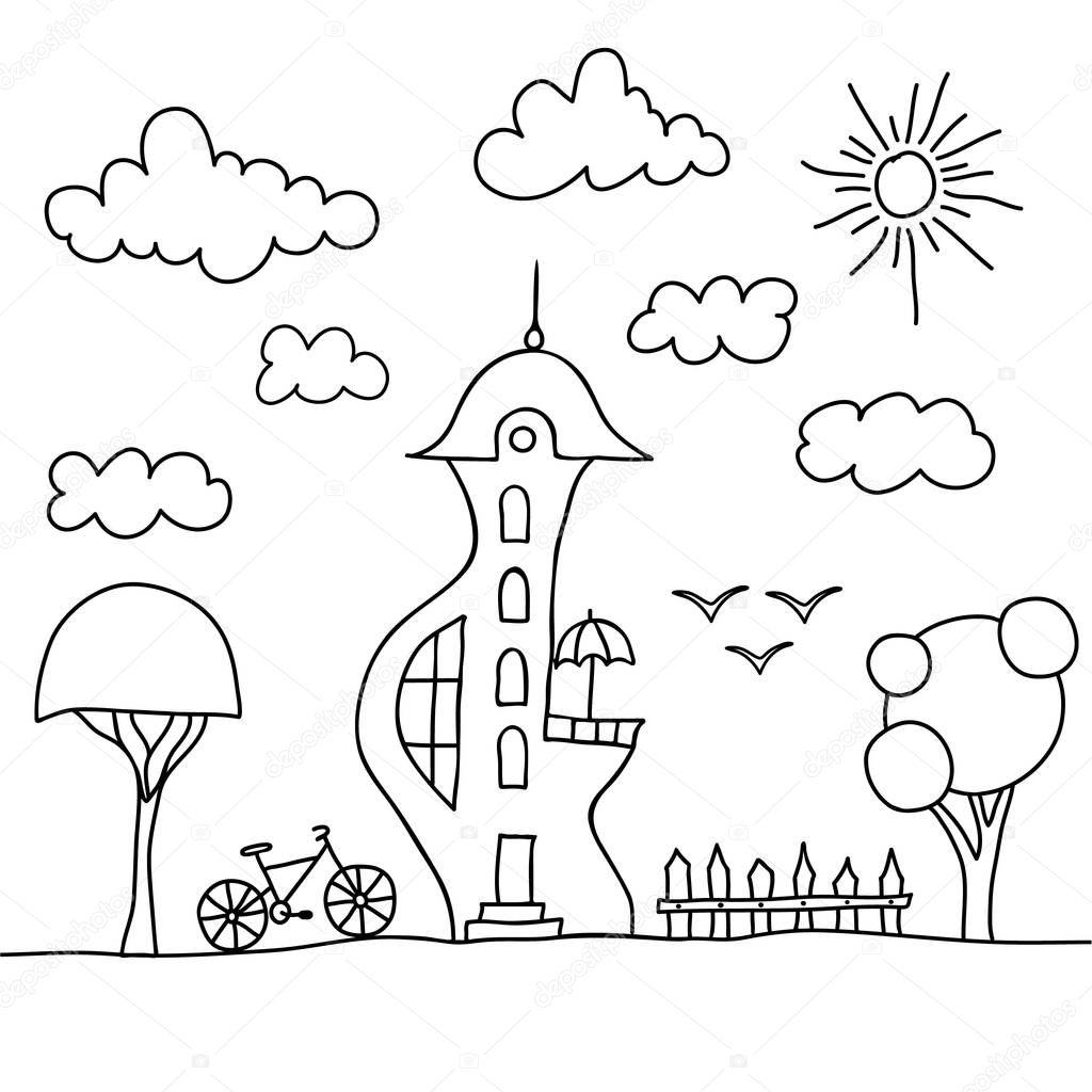 Silueta De Mano Para Pintar Dibujado Mano Casa Con Patio