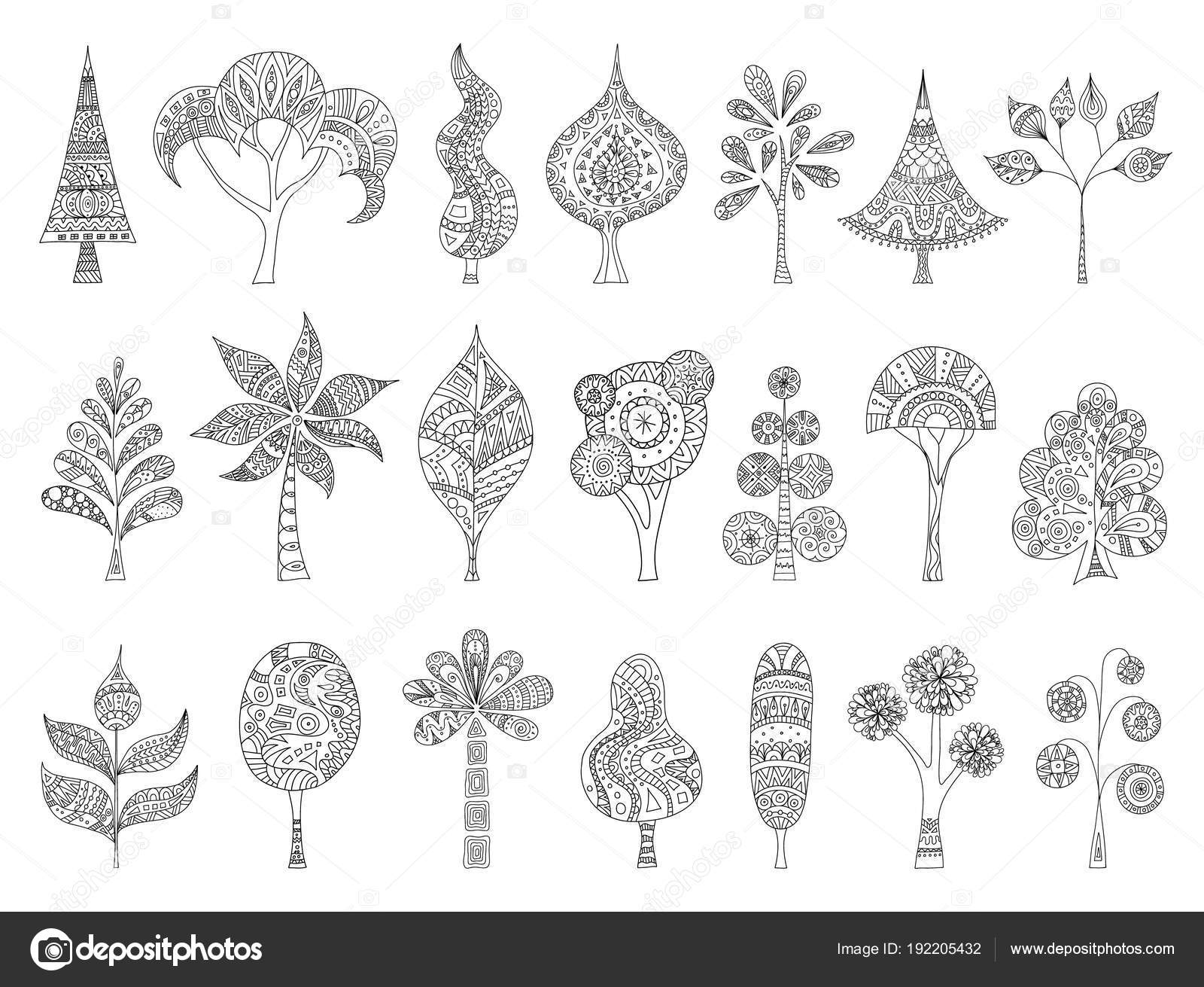 Set Hand Drawn Sketches Trees Vector Doodle Plant Zentangle Style