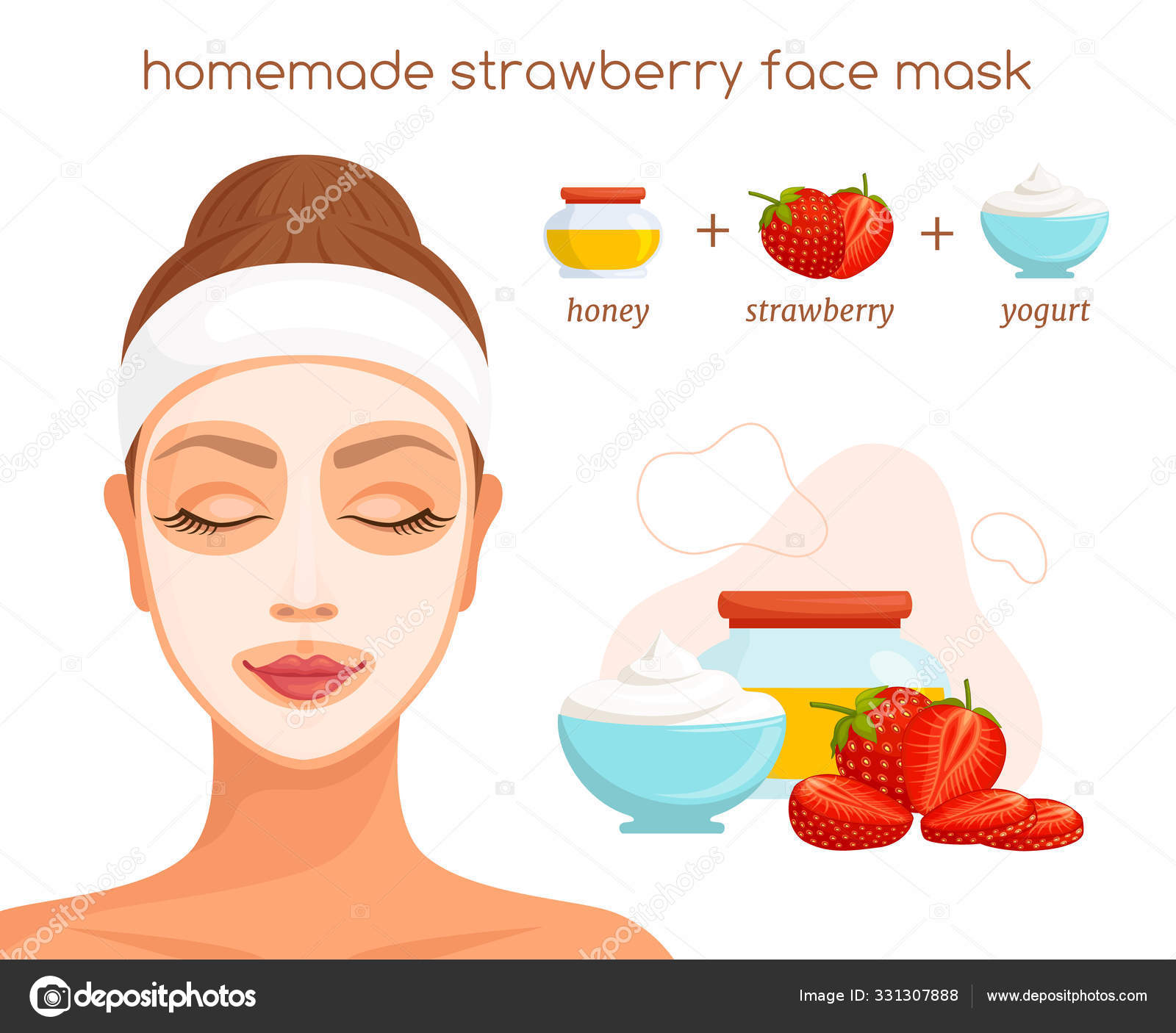 The Recipe For A Homemade Face Mask With Strawberries Vector Stock Vector C Kurmanstock Gmail Com 331307888