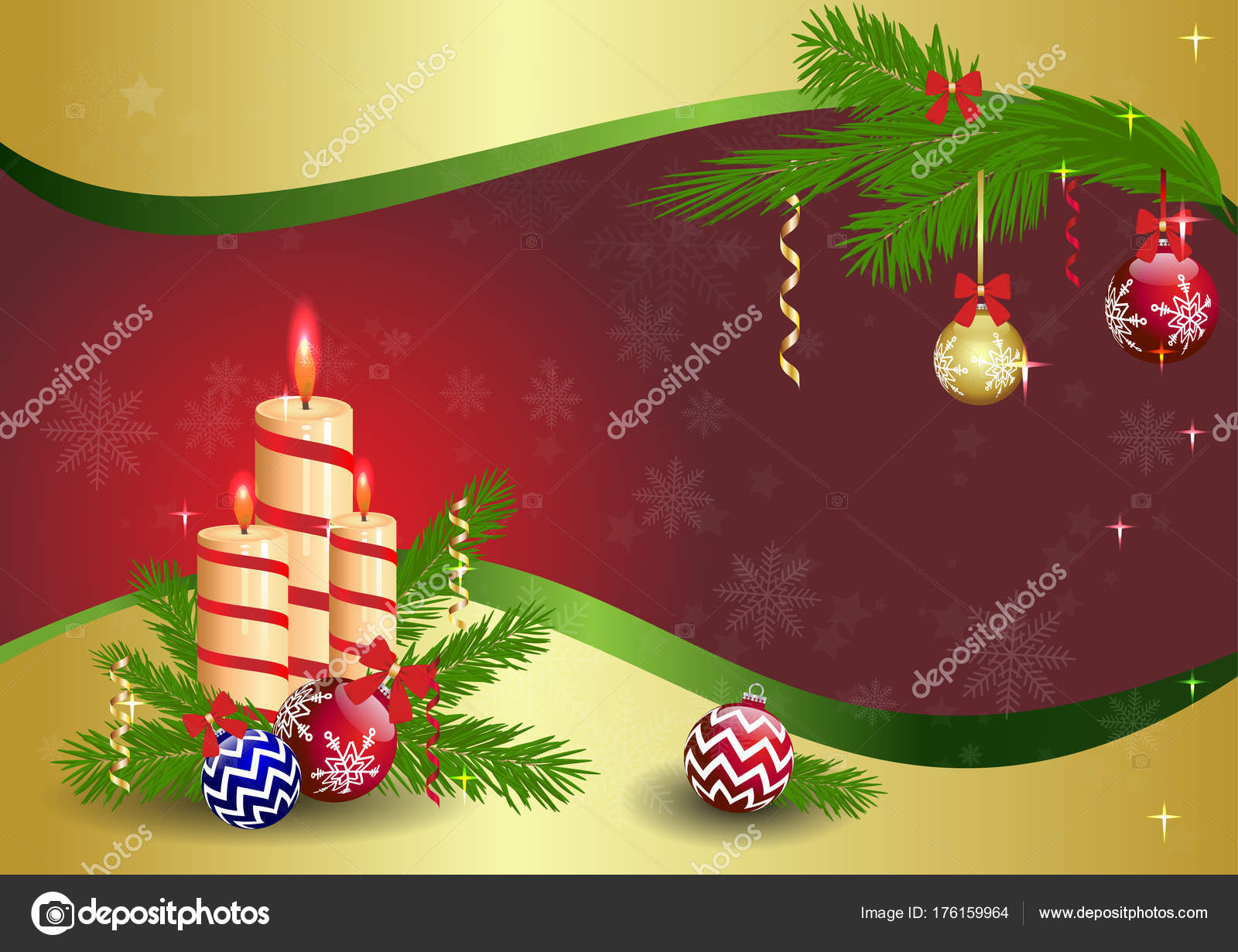 New Year Greeting Card New Year Banner Candles Toys Site Stock