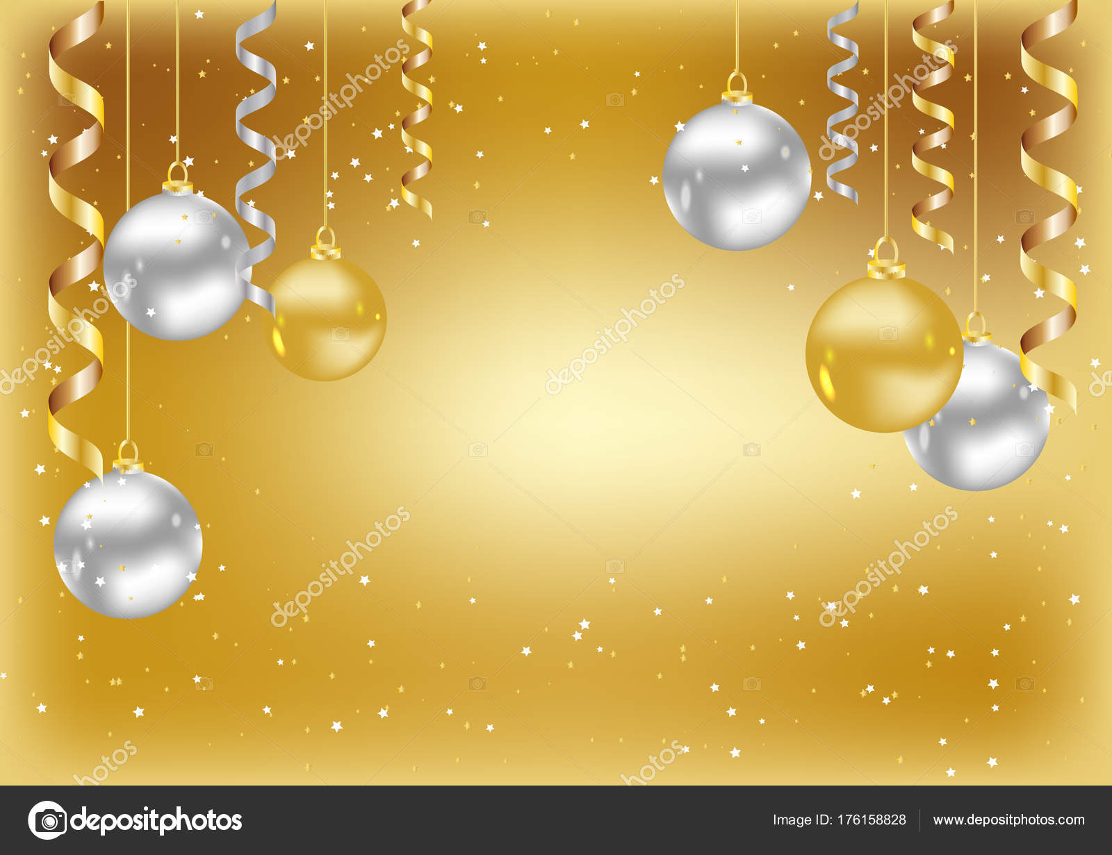 merry christmas new year background christmas gold card balls stock vector
