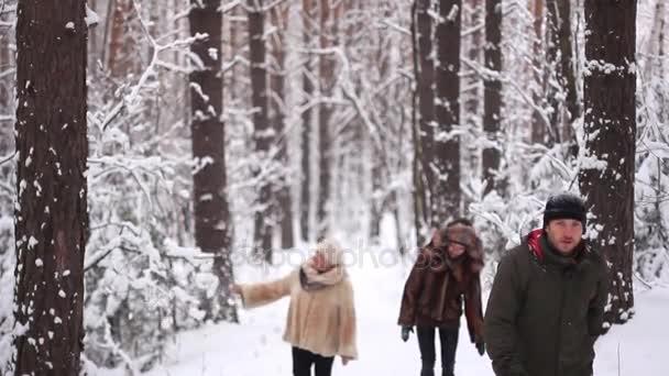 Menschen gehen im Winterwald spazieren