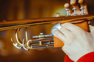 Man plays the trumpet