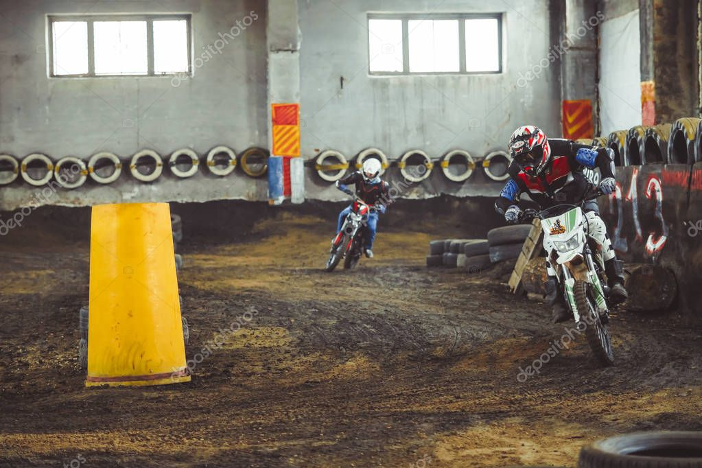 Novokuzneck, Russia - 21.04.2018: motocross competitions on the track