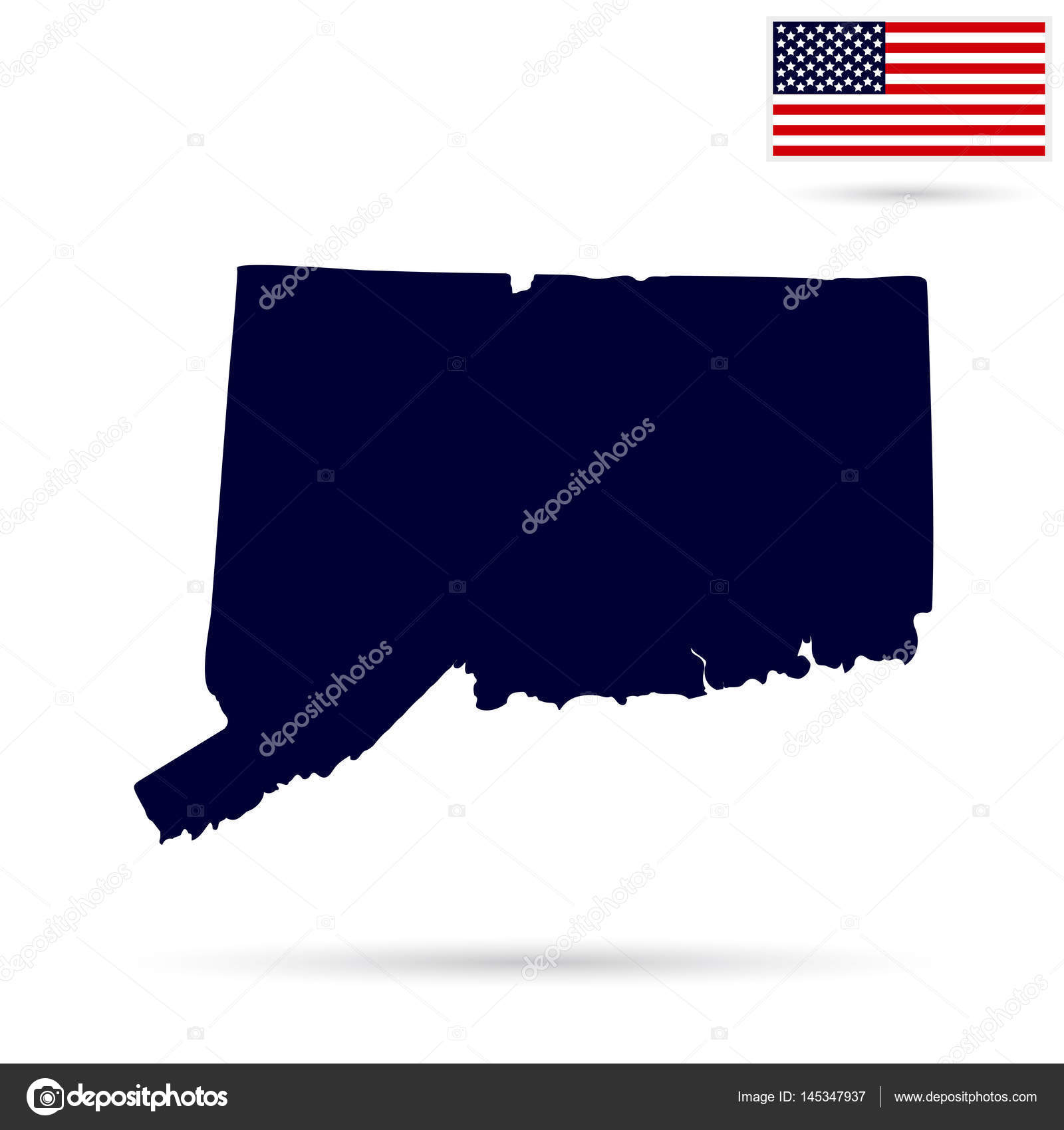 map of the u s state connecticut on a white background america stock vector
