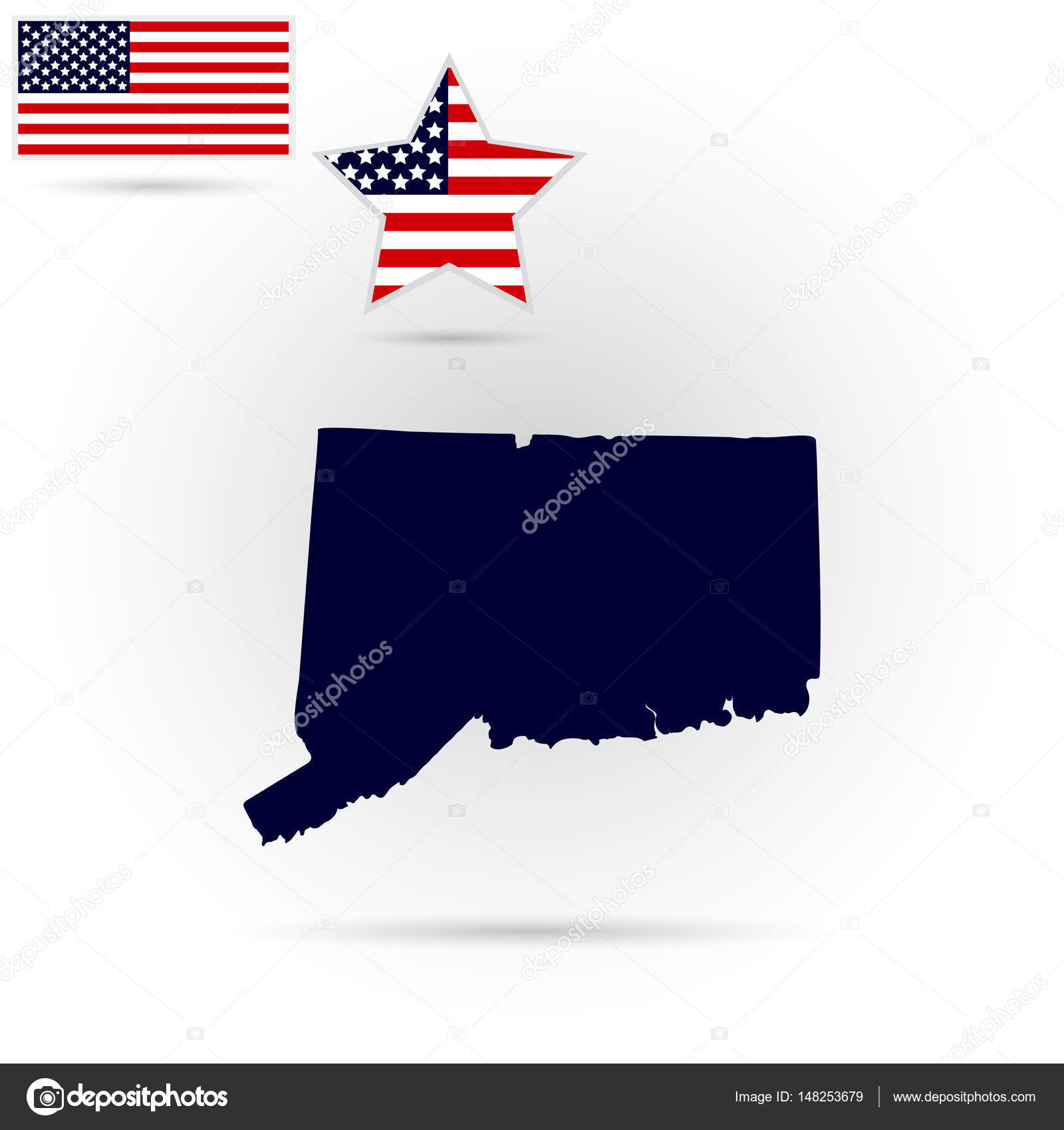 map of the u s state of connecticut on a white background amer stock vector