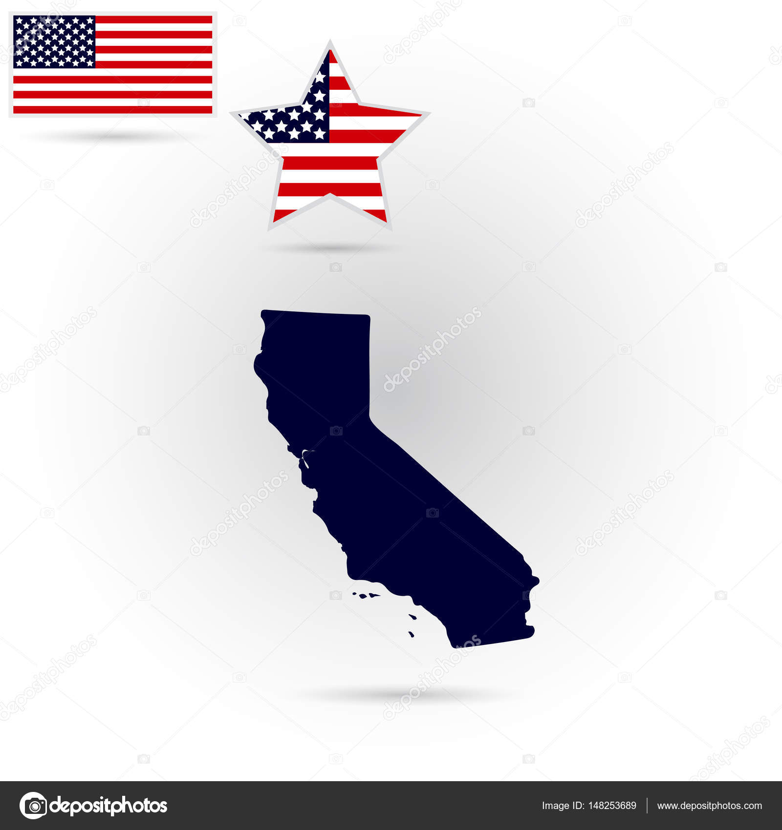 Map Of The Us State Of California On A White Background Ameri - California-on-the-us-map