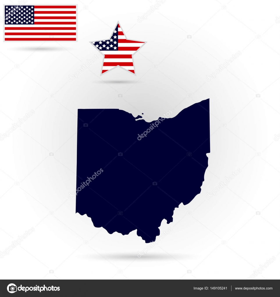 map of the u s state of ohio on a gray background american fla stock