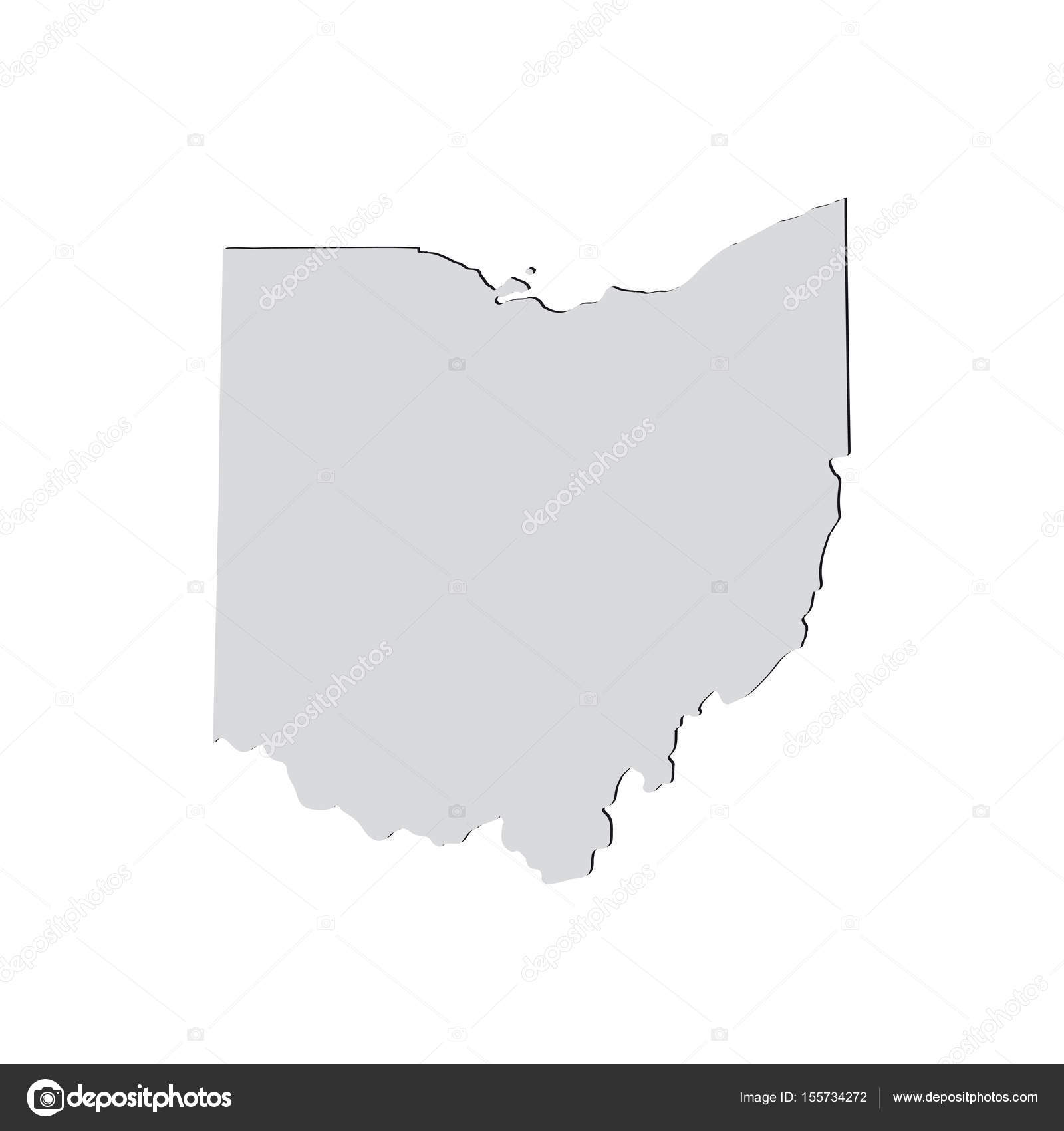 map of the u s state of ohio on a white background stock vector
