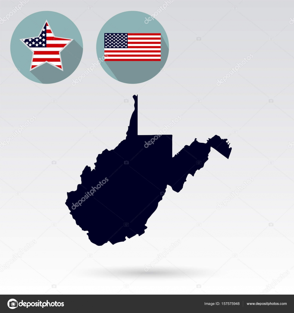 map of the u s state of west virginia on a white background am stock