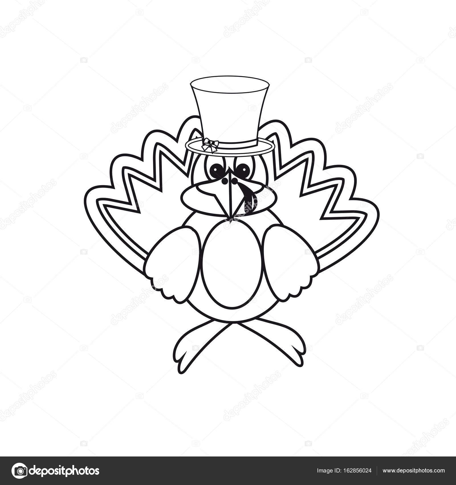 Icono blanco y negro en el día del pavo de acción de gracias ...