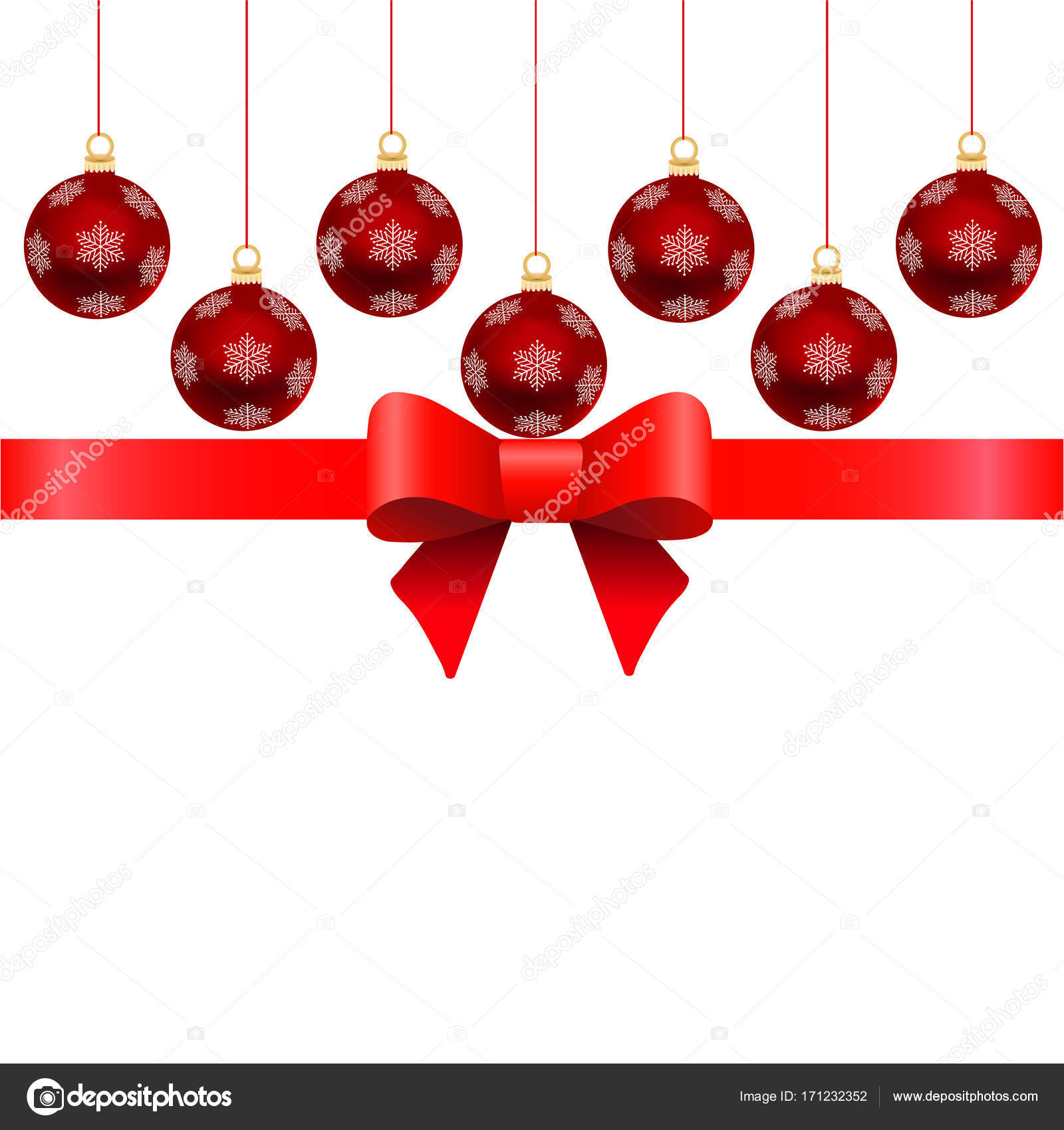 Template for Christmas cards. Red Christmas balls with ribbon an — Stock Vector