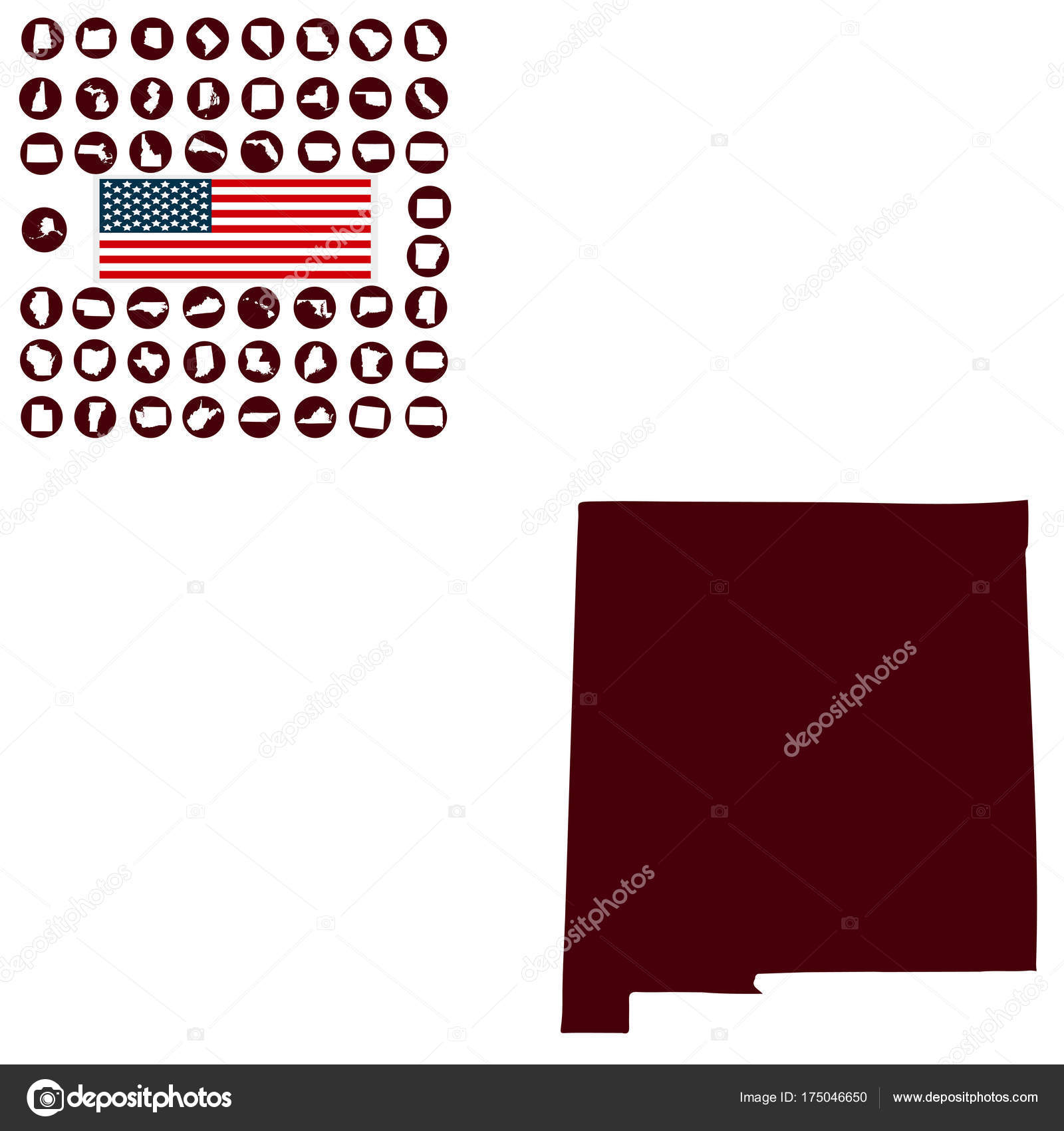 map of the u s state of new mexico on a white background stock vector