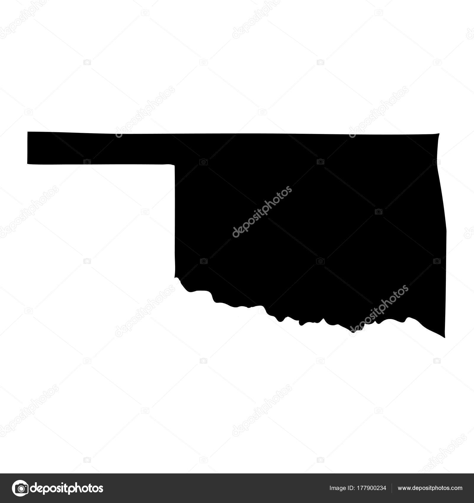 map of the u s state of oklahoma on a white background stock vector