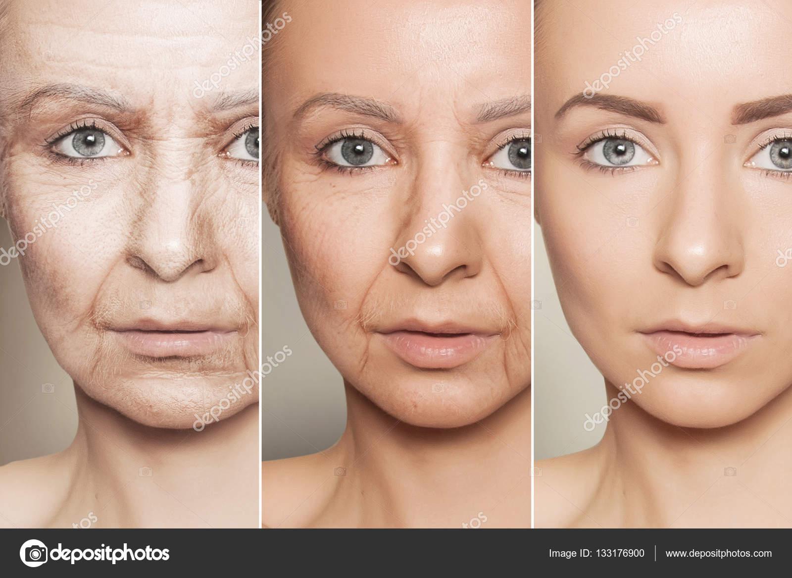 три обличчя жінки різного віку крупним планом портрет — Стокове фото ... ef5cf09cd64bb