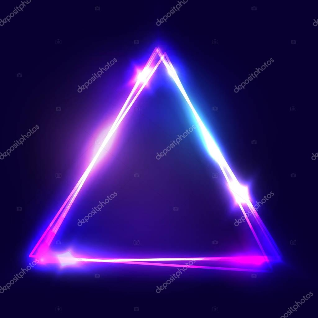 triangle background glowing electric abstract frame on dark backdrop light banner