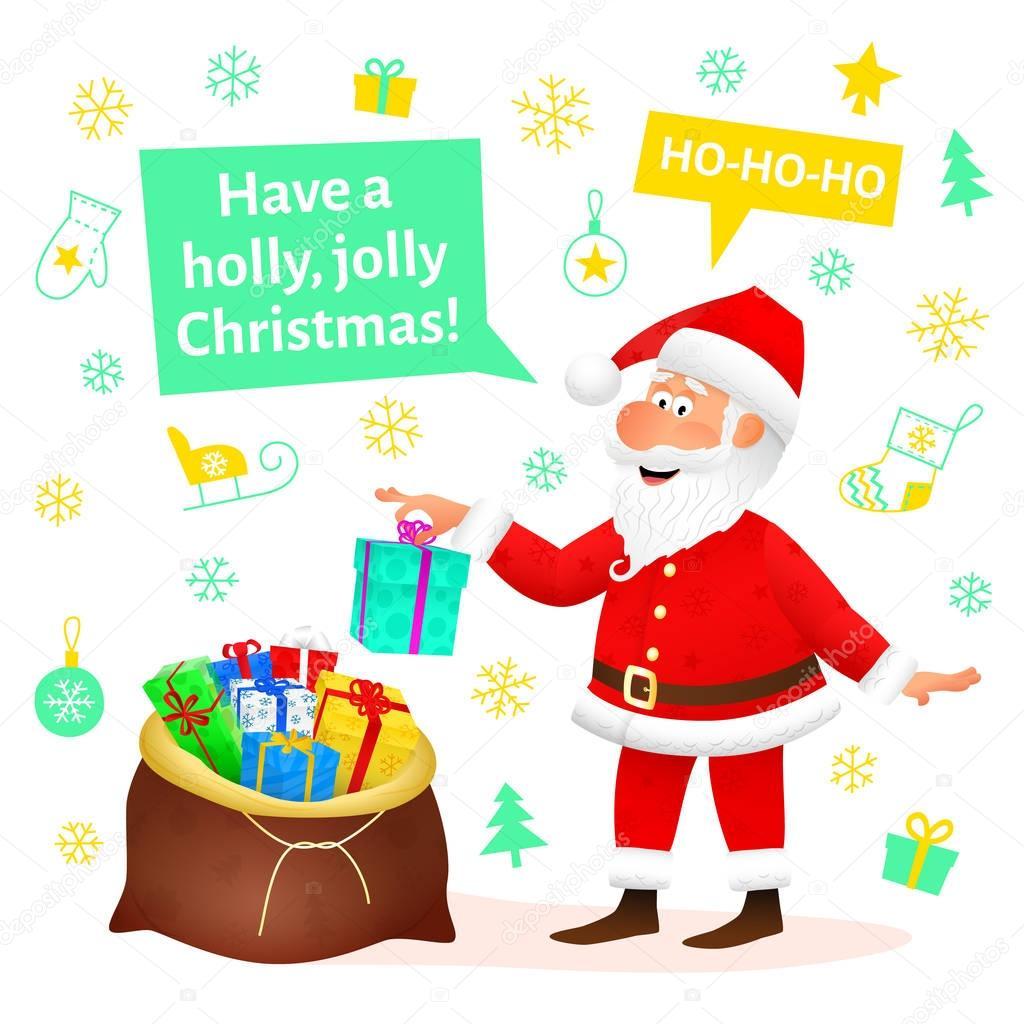 Santa Claus Plocha Postava Izolovanych Na Bilem Pozadi Rucne
