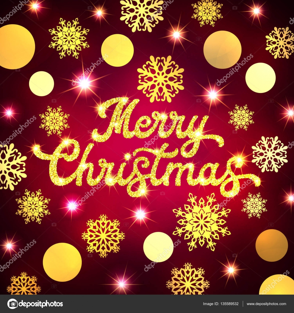 Merry christmas hand lettering inscription on xmas background with merry christmas hand lettering inscription on xmas background with circles snowflakes and glittering gold texture text on pink backdrop seasons greetings kristyandbryce Choice Image