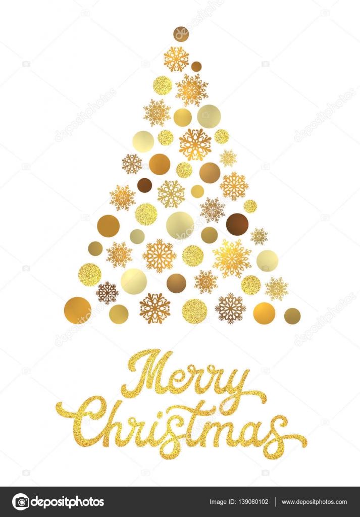 Rbol de navidad aislado en fondo blanco con oro mano - Arboles de navidad dorados ...