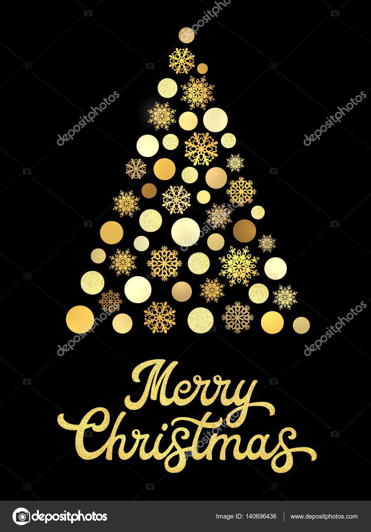 Rbol de navidad aislado en fondo negro con oro mano - Arboles de navidad elegantes ...