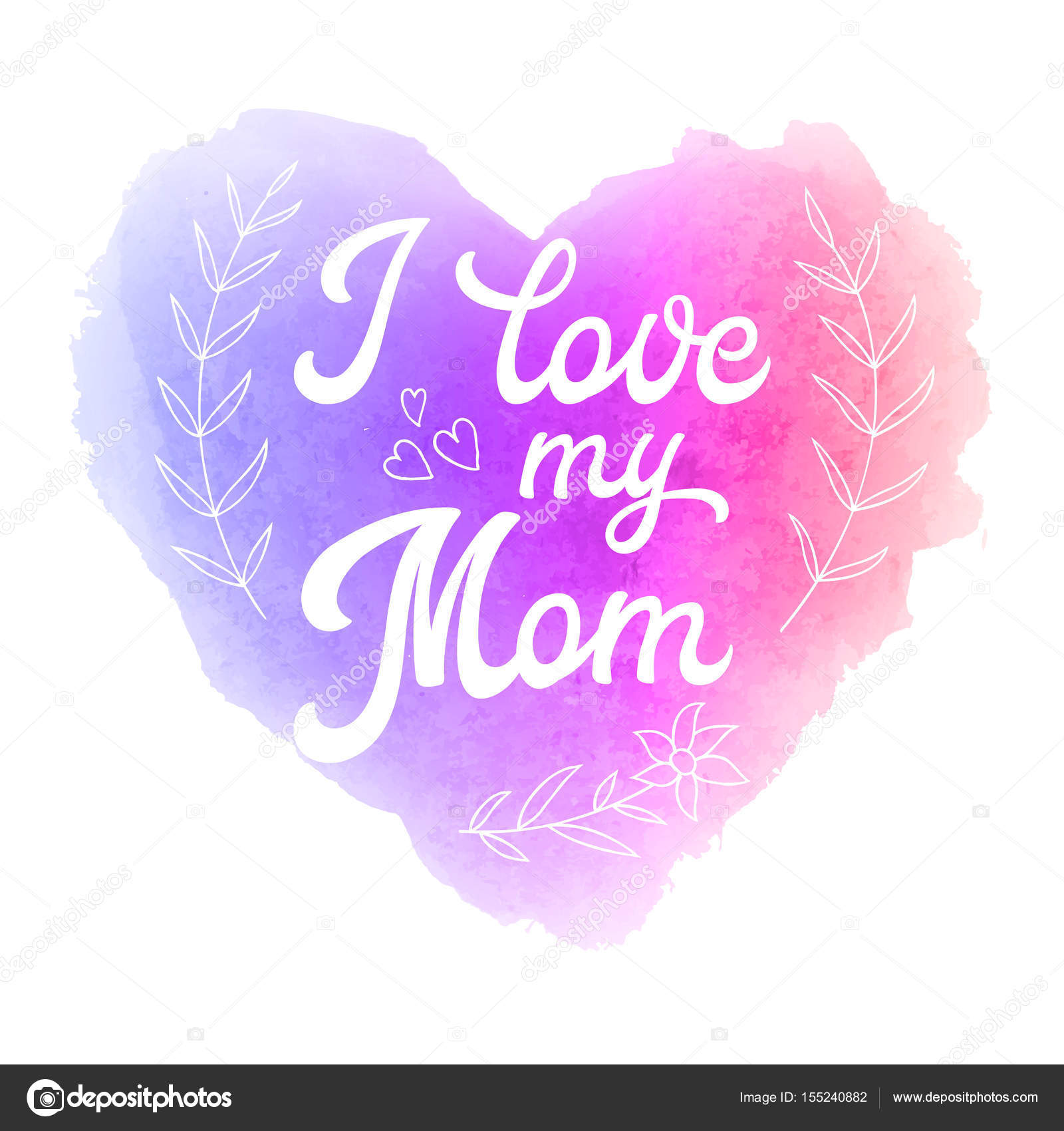 I love my mom greeting card with heart and hand lettering text on i love my mom greeting card with heart and hand lettering text on abstract pink altavistaventures Choice Image