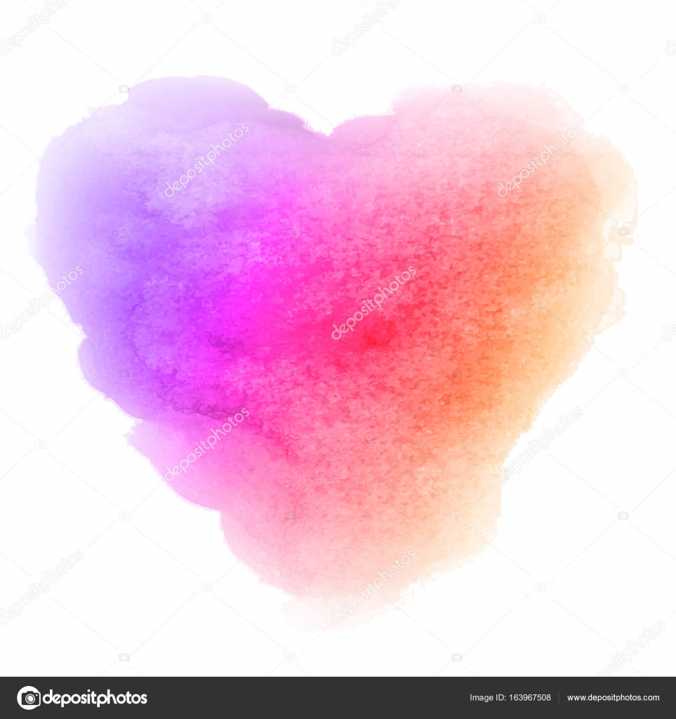 Watercolor gradient violet pink orange hand drawn paper texture isolated heart shaped stain on white background