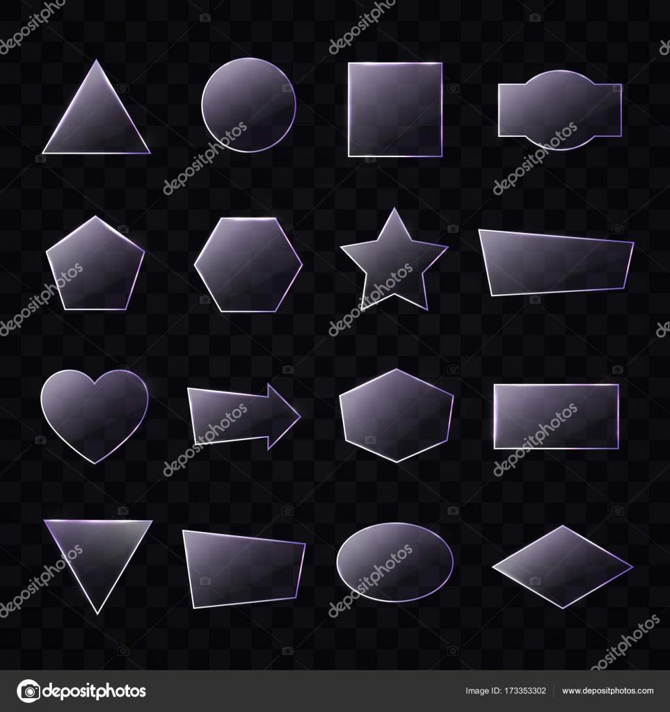 Juego de placas de cristal transparente de diferentes formas en ...