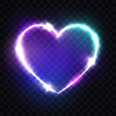Night Club Neon Heart Sign. 3d Retro Light Signboard With Shining Neon Effect. Techno Frame With Glowing On Transparent Backdrop. Electric Street Banner Design. 80s Style Colorful Vector Illustration