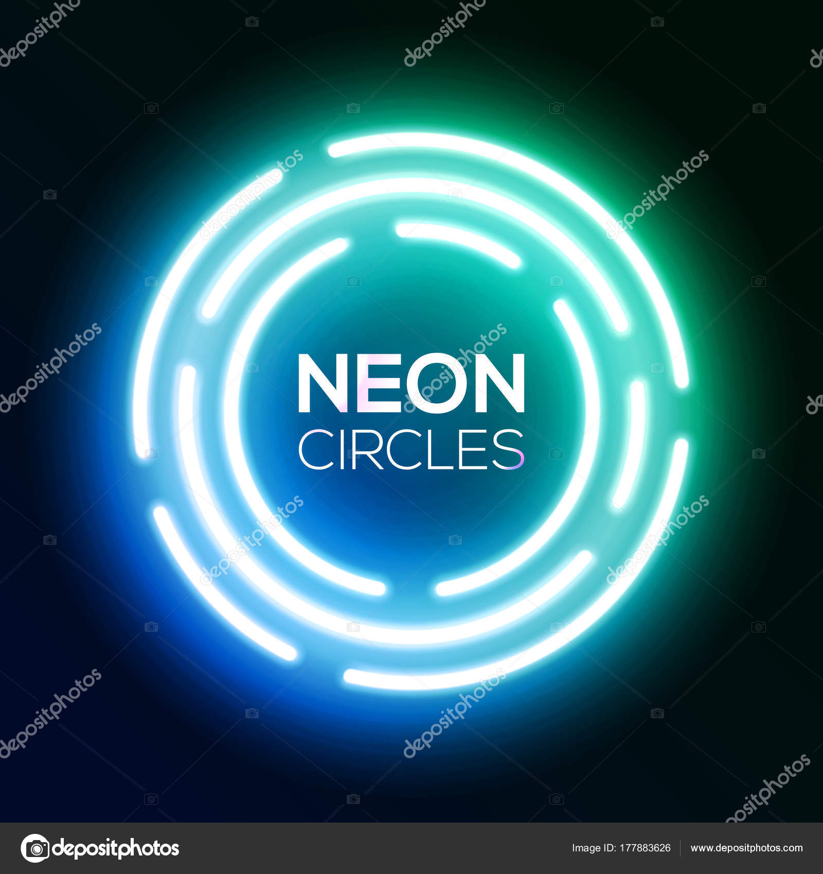 Színátmenetes kék neon fény banner. Ragyogó kerek techno körökben. Night  club elektromos élénk 3D e0f7d8c937
