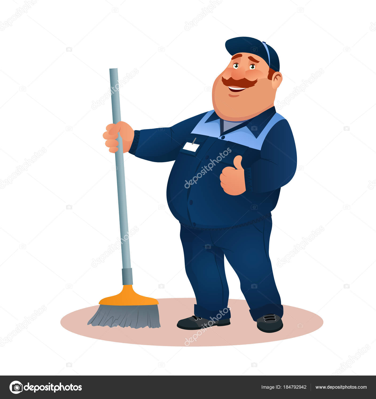 Funny cartoon janitor with mop and ok gesture  Smiling fat character