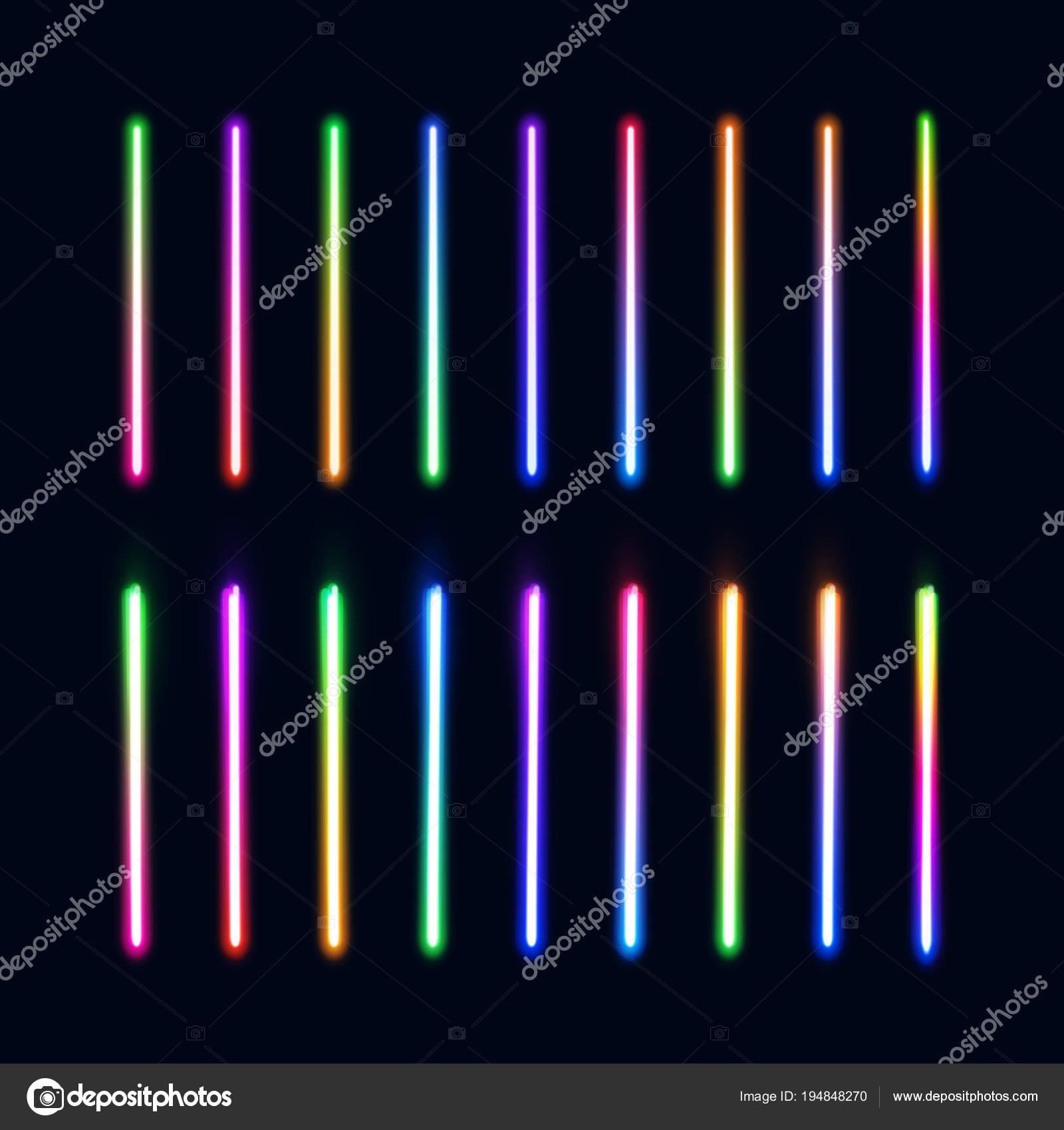 Neon verlichting buizen ingesteld. Kleurrijke gloeiende lijnen ...