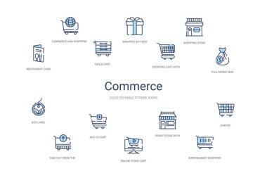 commerce concept 14 colorful outline icons. 2 color blue stroke