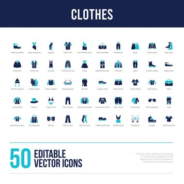 50 clothes concept filled icons