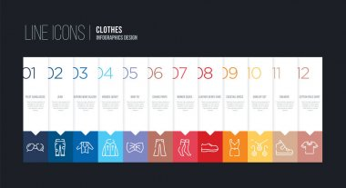 infographic design with 12 options. stroke line icons such as ch