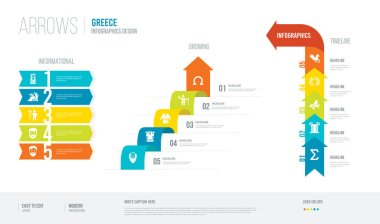 arrows style infogaphics design from greece concept. infographic