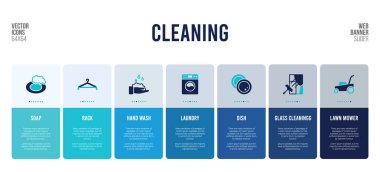 web banner design with cleaning concept elements.