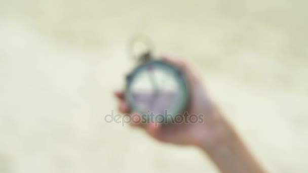 Vintage Compass In Female Hands
