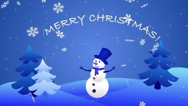 Záznam Veselé Vánoce padající vločky, sněhulák a vánoční stromky