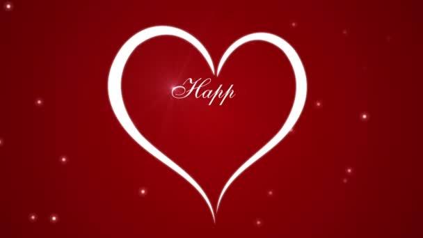 Záběry Happy Valentines den se srdce na červeném pozadí