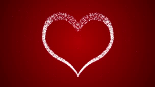 Footage Happy Valentines Day with heart on a red background