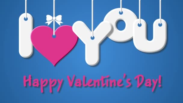 Footage Happy Valentines Day and I love you with heart on a blue background