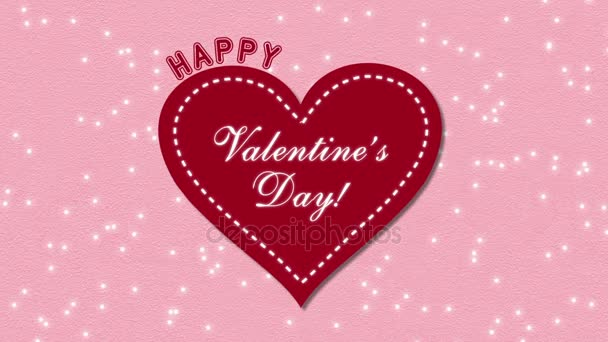 Footage Happy Valentines Day with hearts on a pink background