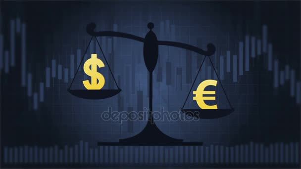 Scales with Dollar and Euro symbols on the dark blue background with charts