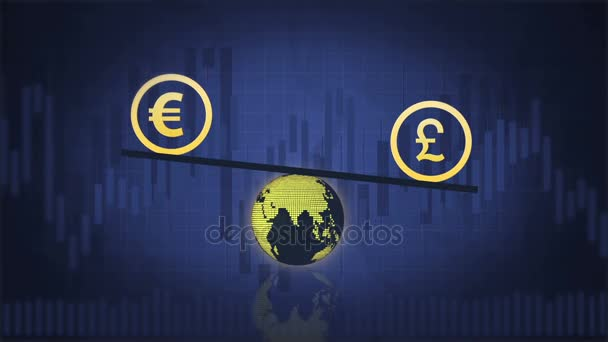 Euro and Pound are balancing above the Earth on the dark blue background with charts