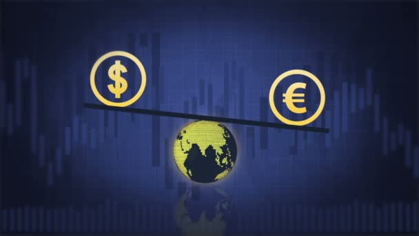 Dollar and Euro are balancing above the Earth on the dark blue background with charts